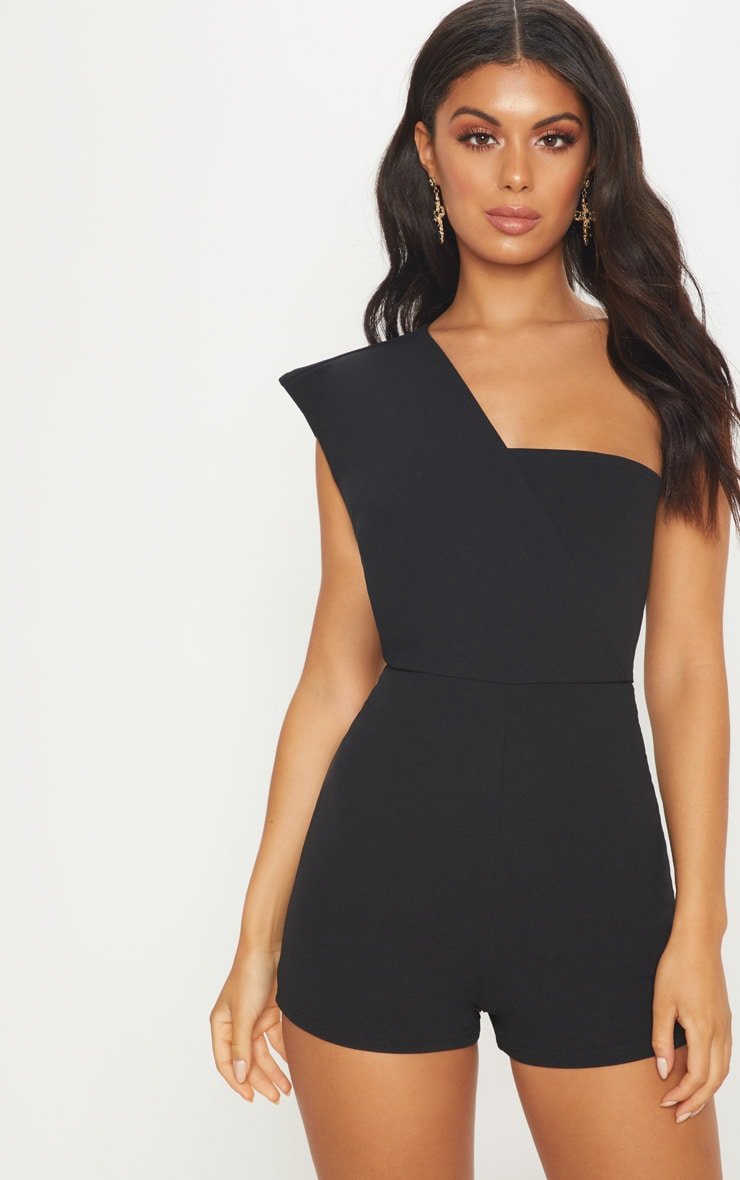Black Drape One Shoulder Playsuit 1