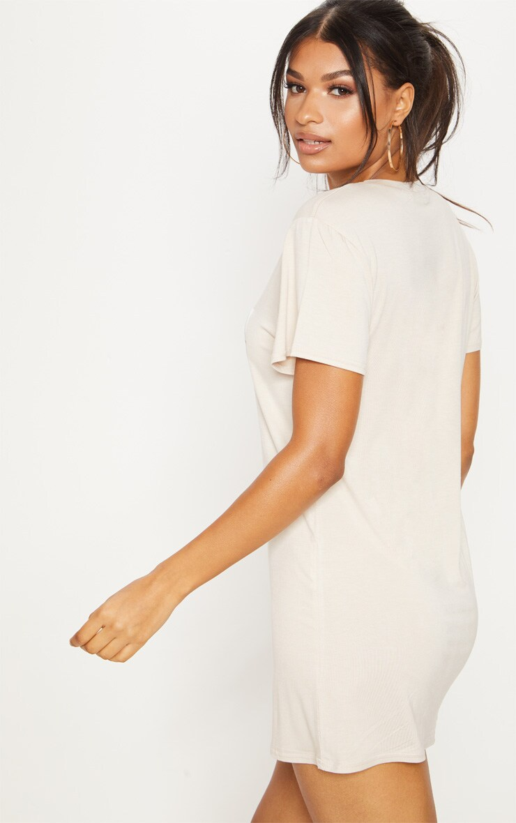 PRETTYLITTLETHING Sand Mirrored T Shirt Dress 4