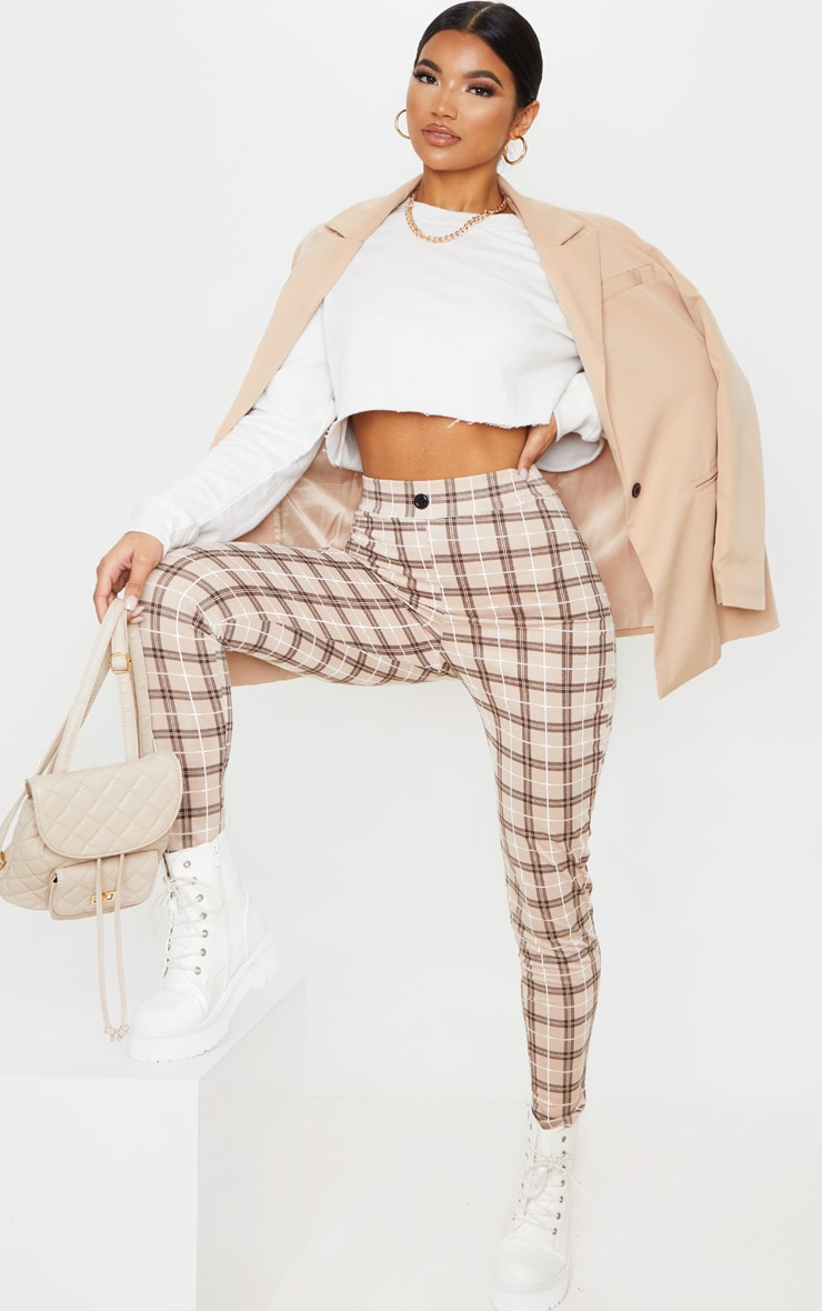 Stone Checked Cropped Skinny Pants 1
