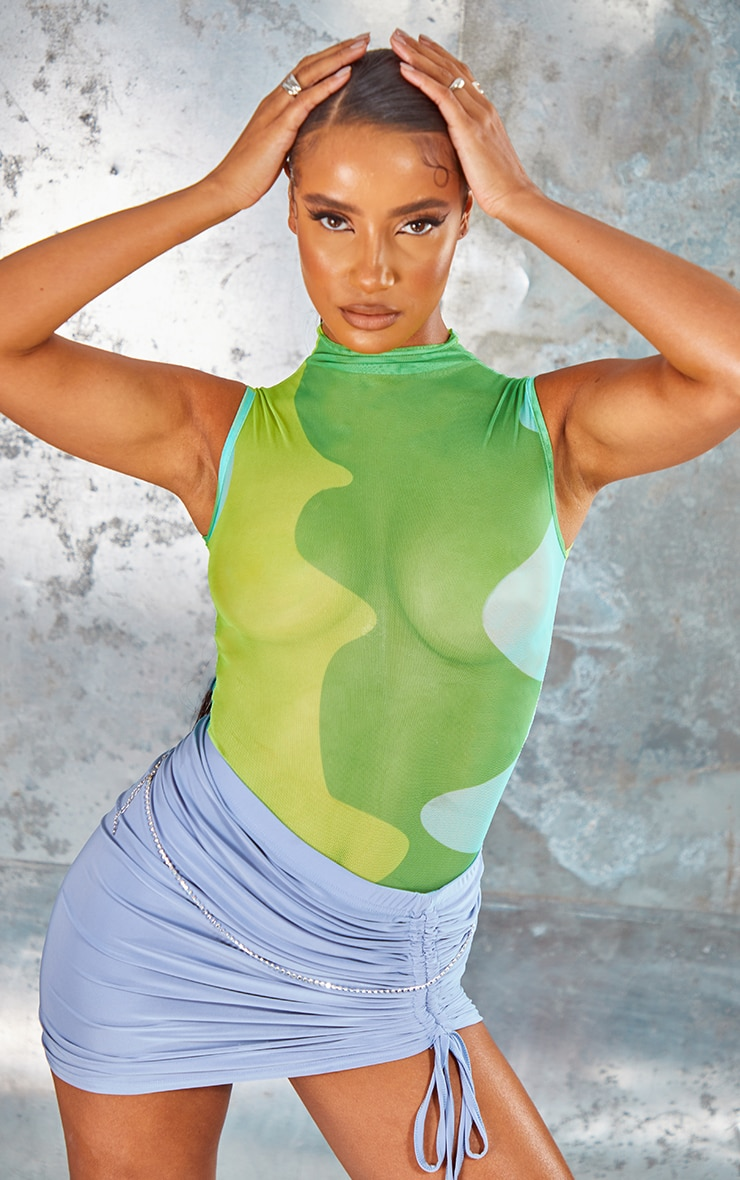 Lime Abstract Wave Print Sleeveless Bodysuit 1