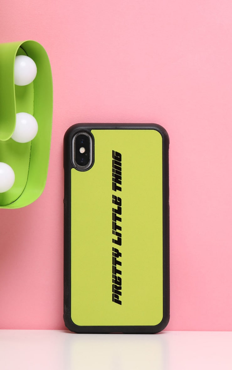PRETTYLITTLETHING Neon Lime Logo 10/X/XS iPhone Case  1