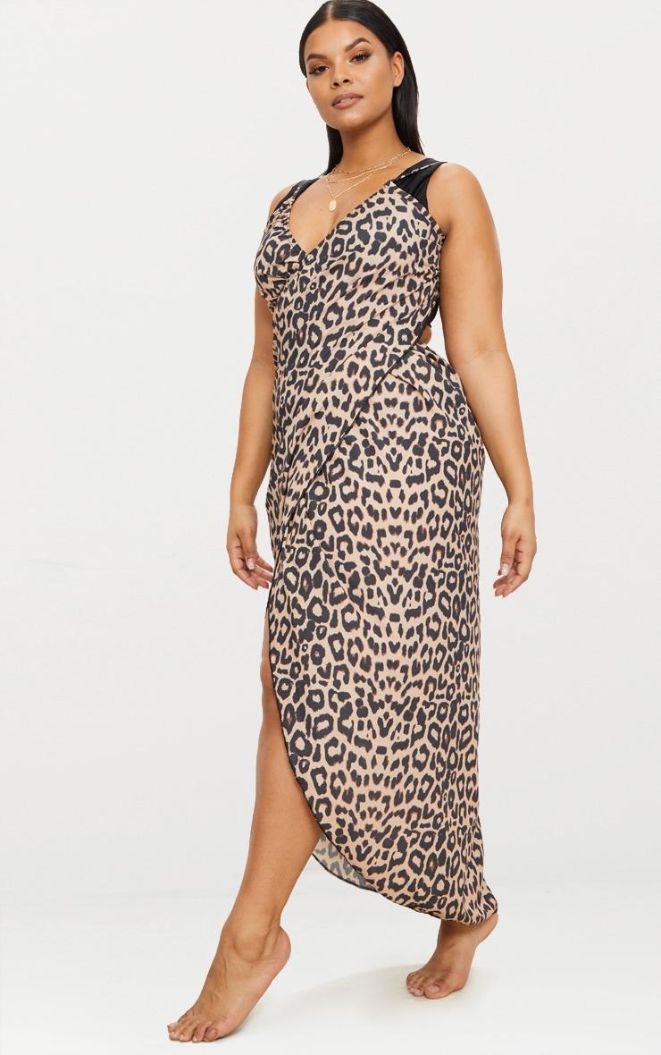 Plus Brown Leopard Print Wrap Detail Chiffon Beach Cover Up Dress 4