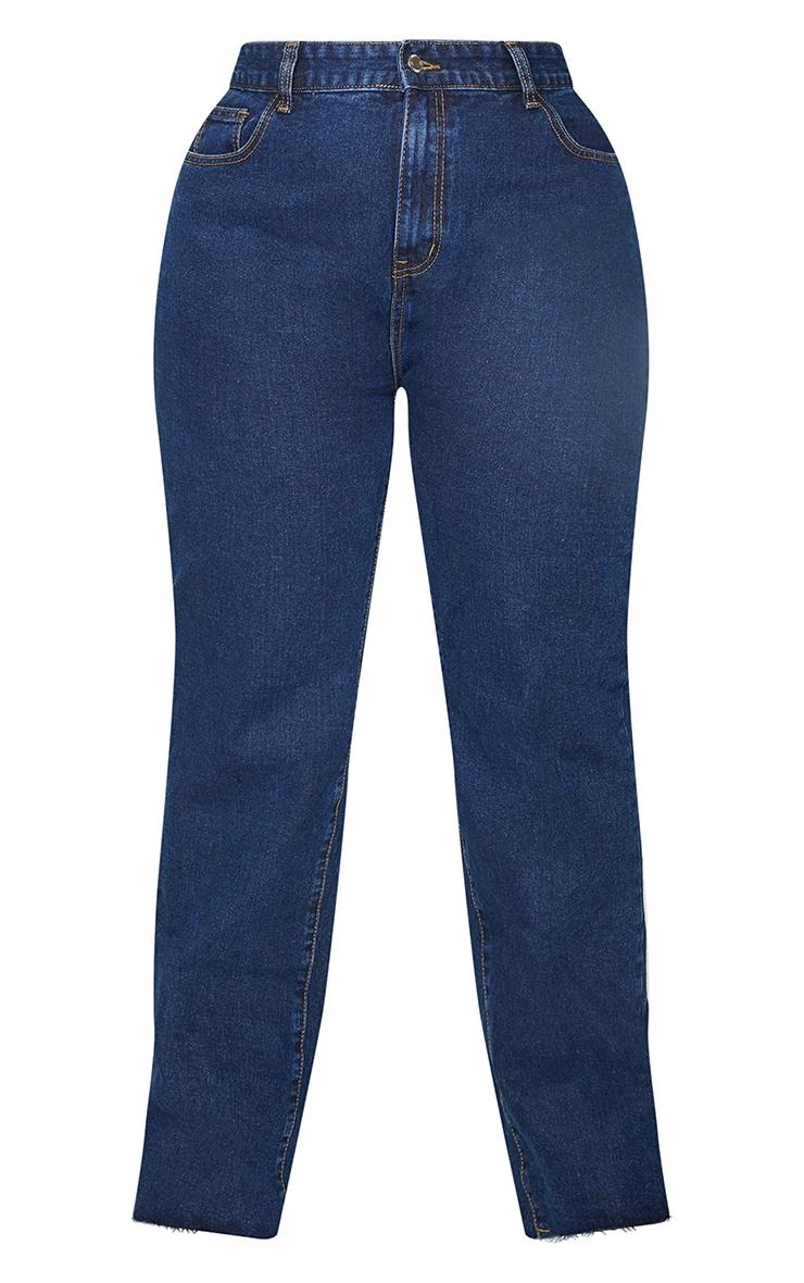 PRETTYLITTLETHING Plus Indigo Long Leg Straight Jeans 5