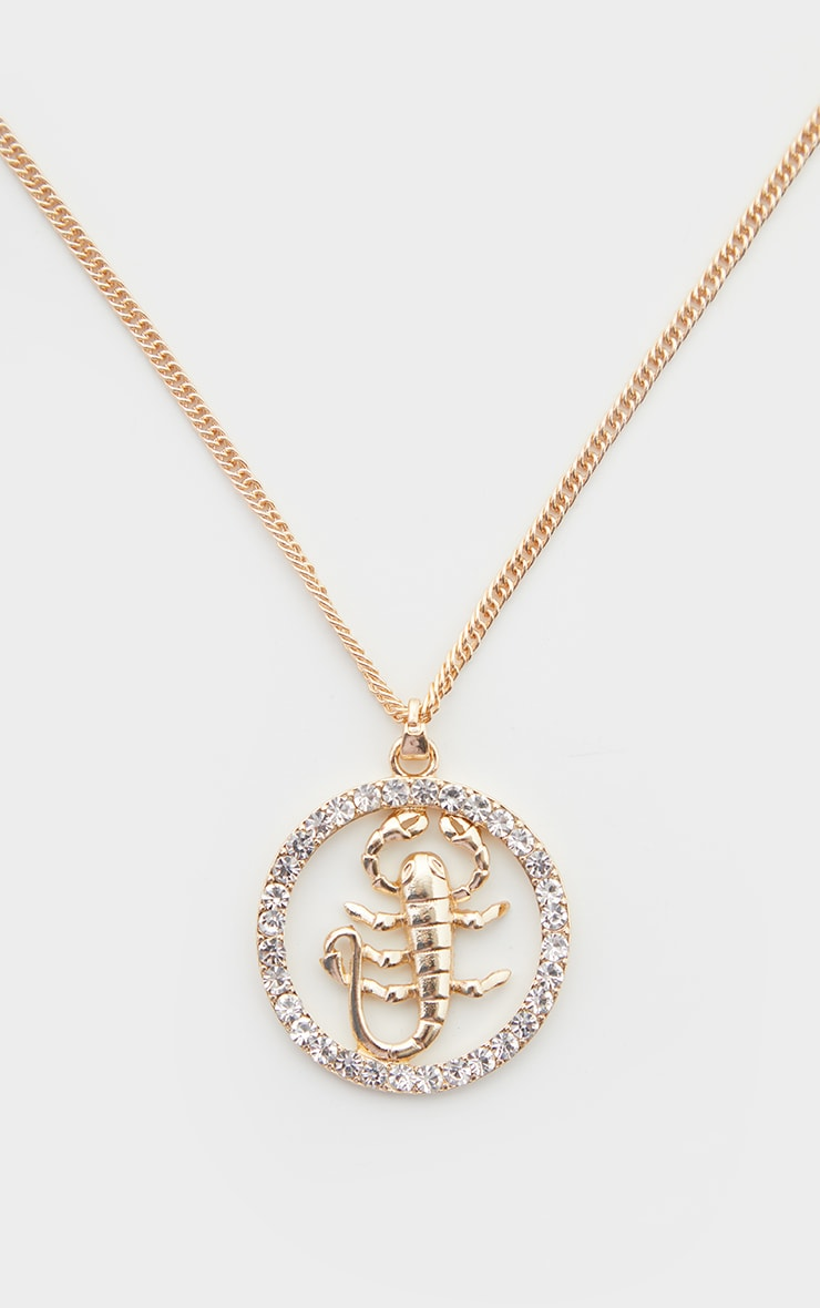 Gold Scorpion Diamante Pendant Necklace 3