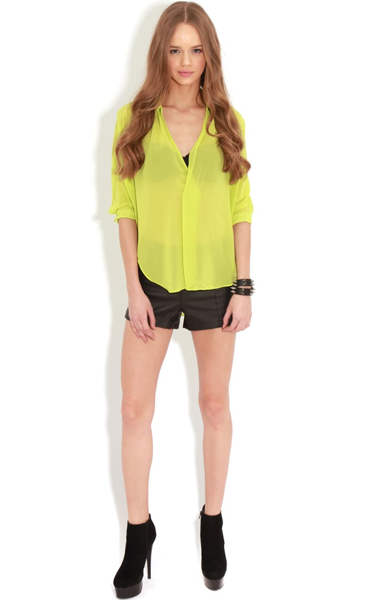Cate Lime Sheer Wrap Front Blouse 3