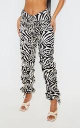 Zebra Print Ruched Leg Dip Waist Pants 2