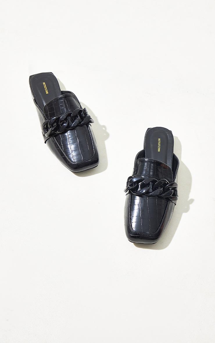Black Wide Fit PU Croc Chain Detail Mules 3