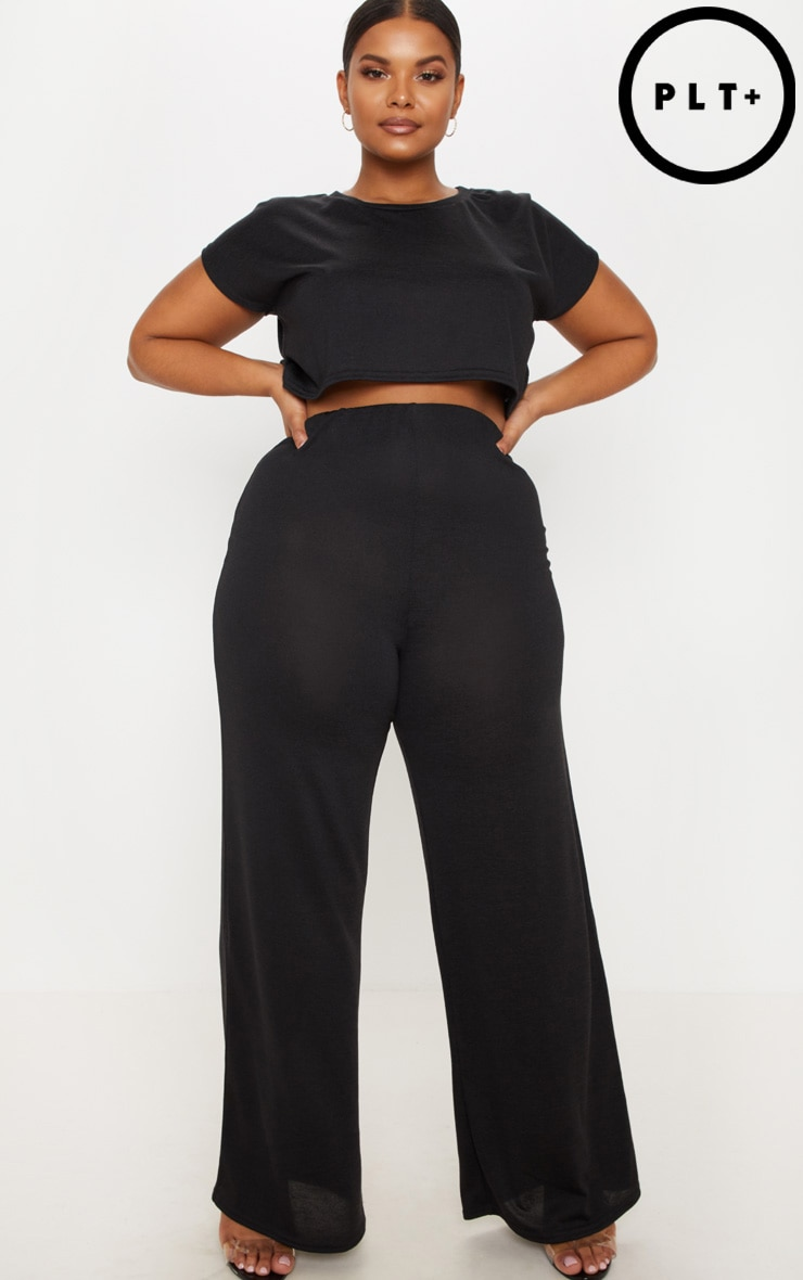 Plus Black Lounge Wide Leg Trousers by Prettylittlething
