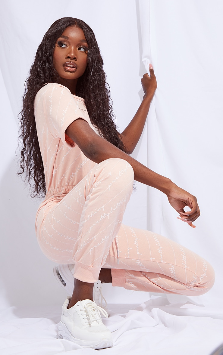 PRETTYLITTLETHING Tall Pink Short Sleeve Sweat Jumpsuit 3