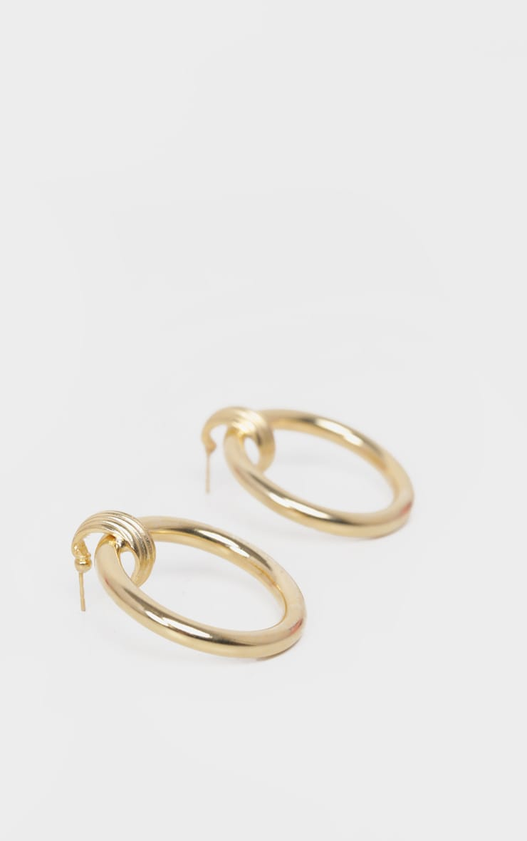 Gold Door Knocker Ring Earrings 3