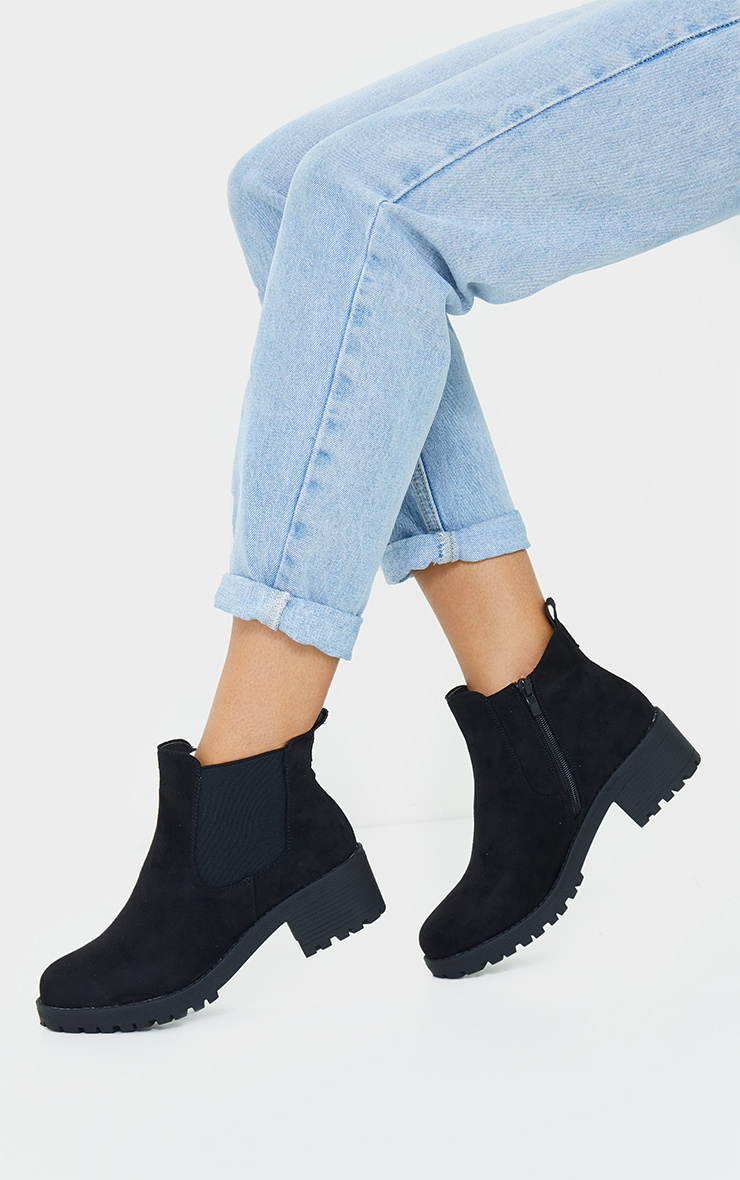 Black Faux Suede Low Heel Cleated Chelsea Ankle Boot 1