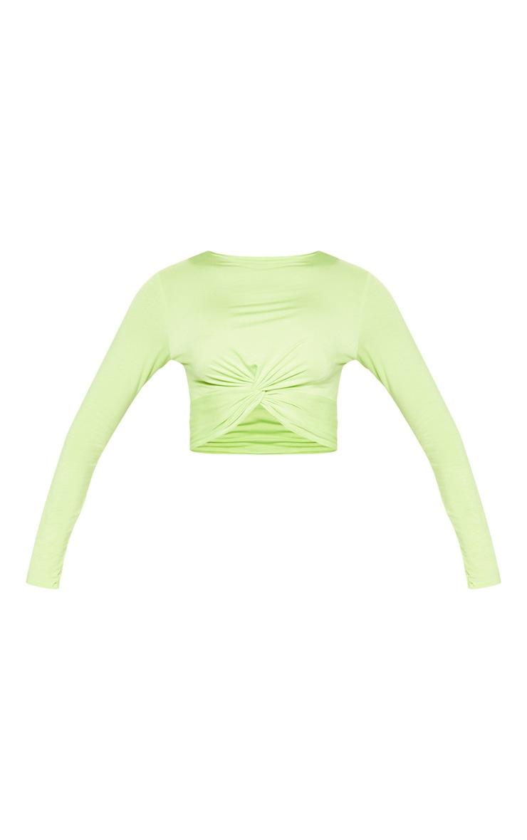 Neon Lime Long Sleeve Knot Hem Crop Top 3