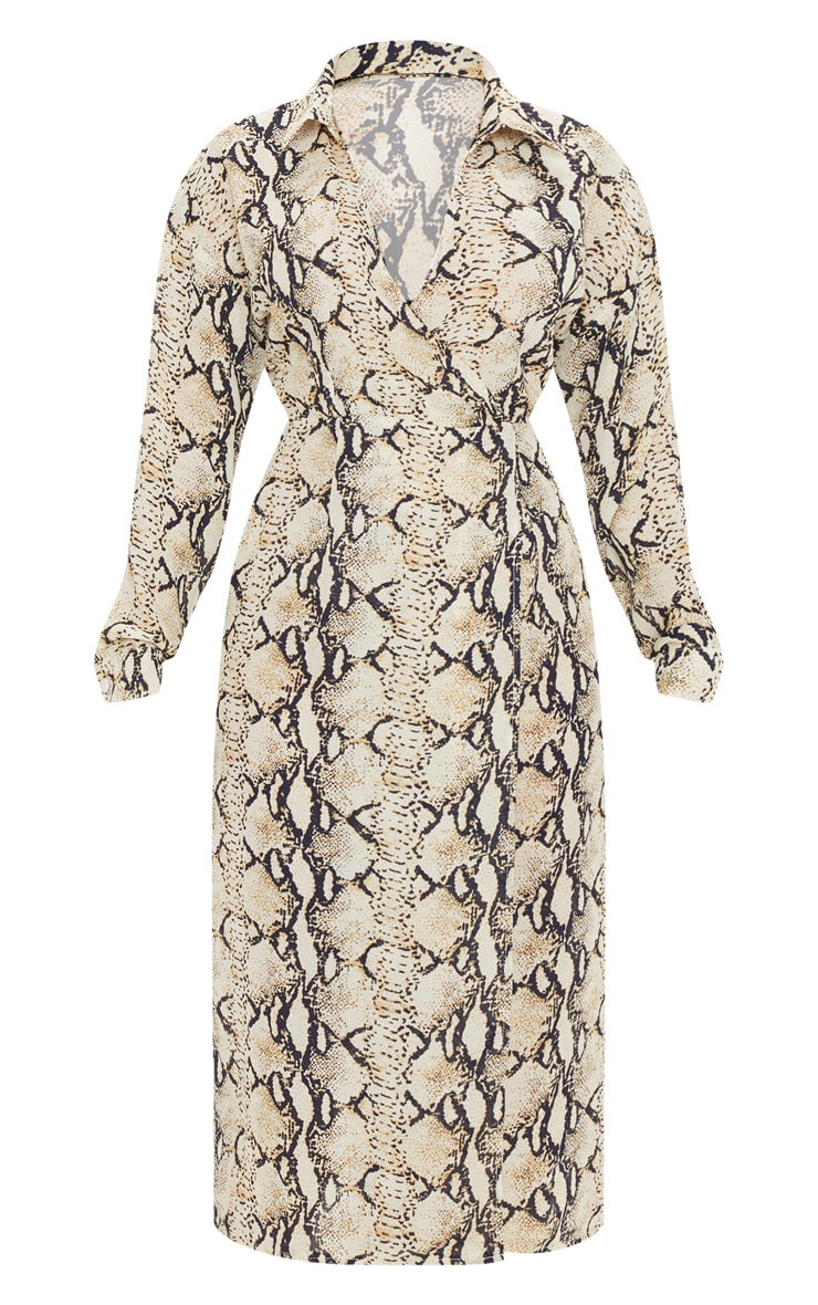 Petite Taupe Snake Print Wrap Midi Dress 3