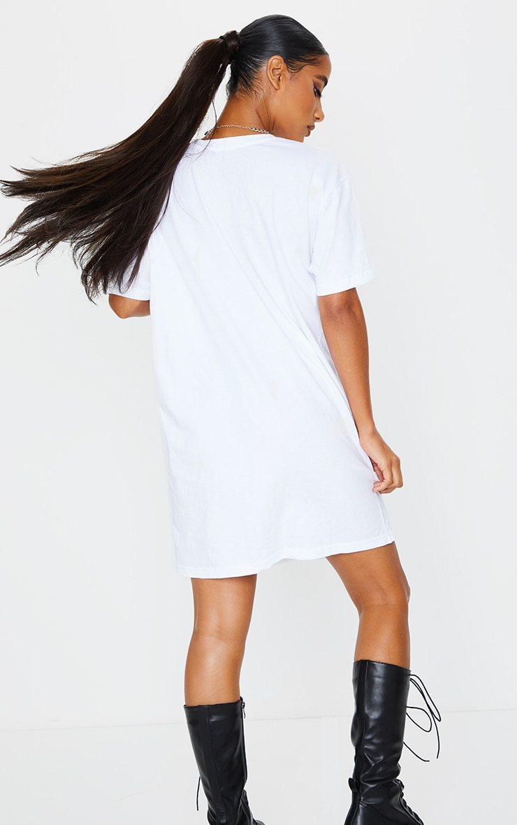 White Gone Girl Slogan Oversized T Shirt Dress 2