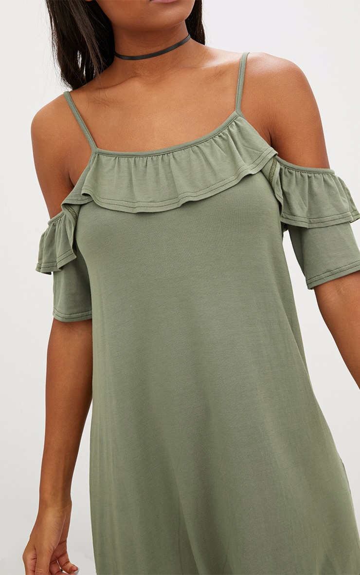 Khaki Jersey Cold Shoulder Shift Dress 5