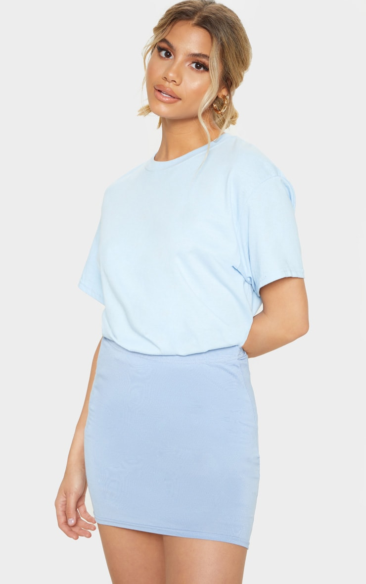 e07b2606cf5 Dusty Blue Basic Jersey Mini Skirt