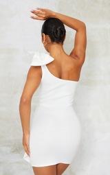 White Bonded Scuba Bow Shoulder Ruffle Bodycon Dress 2
