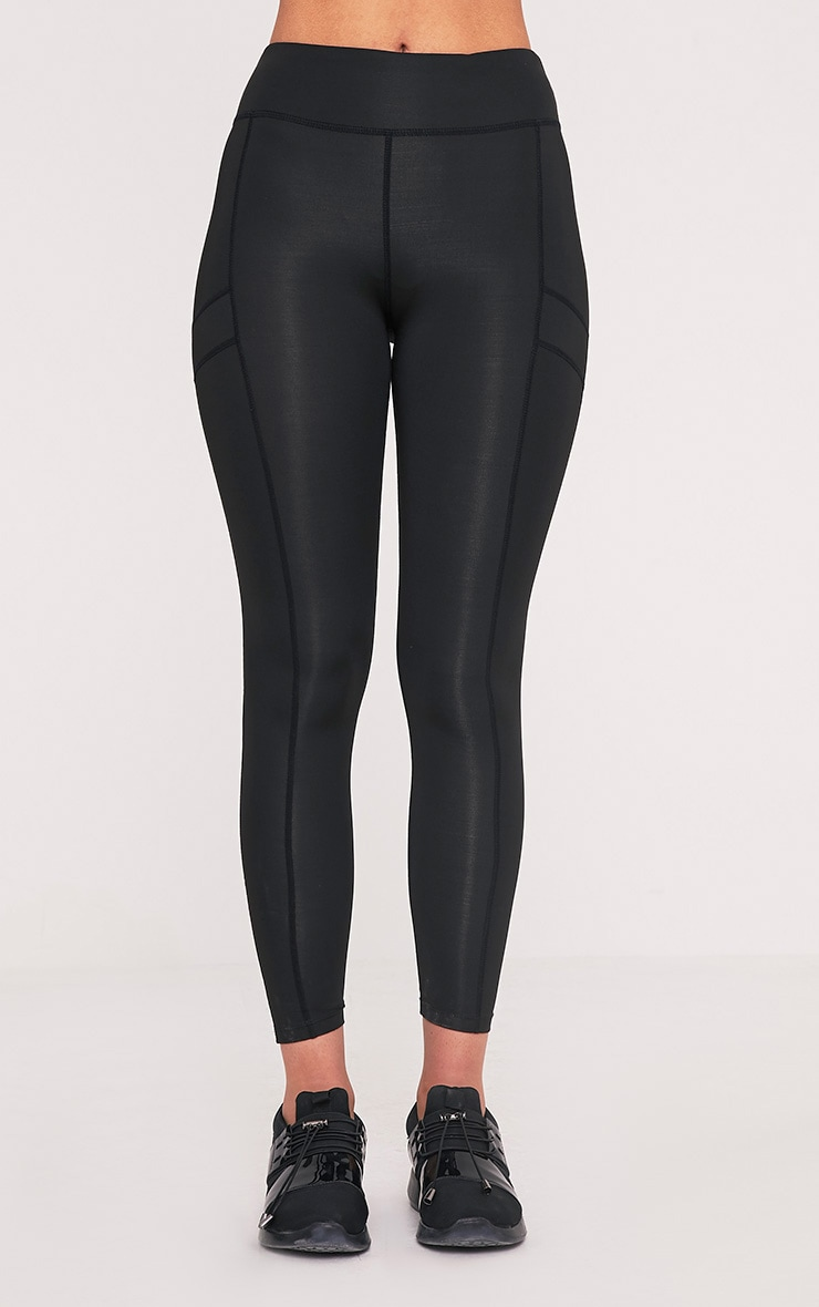 Alexis Black Panelled Gym Leggings 2