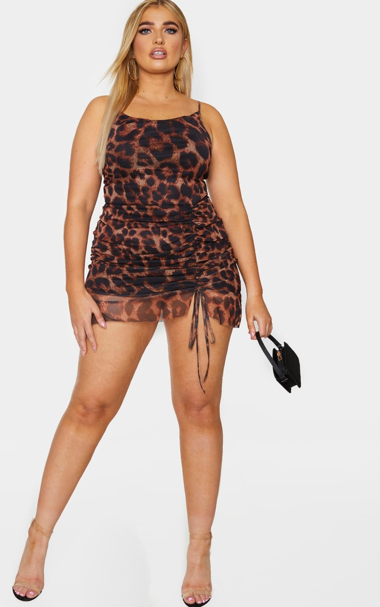Plus Brown Leopard Print Mesh Ruched Bodycon Dress 3