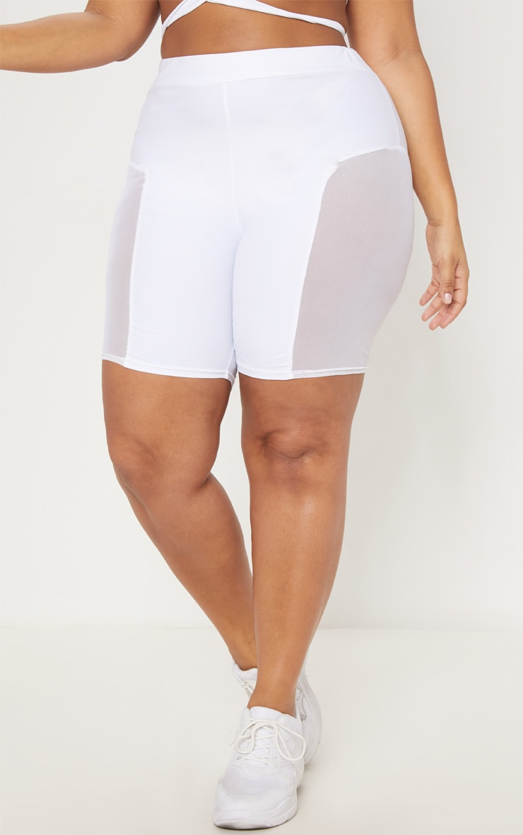 Plus White Mesh Side Panel Cycling Shorts 2