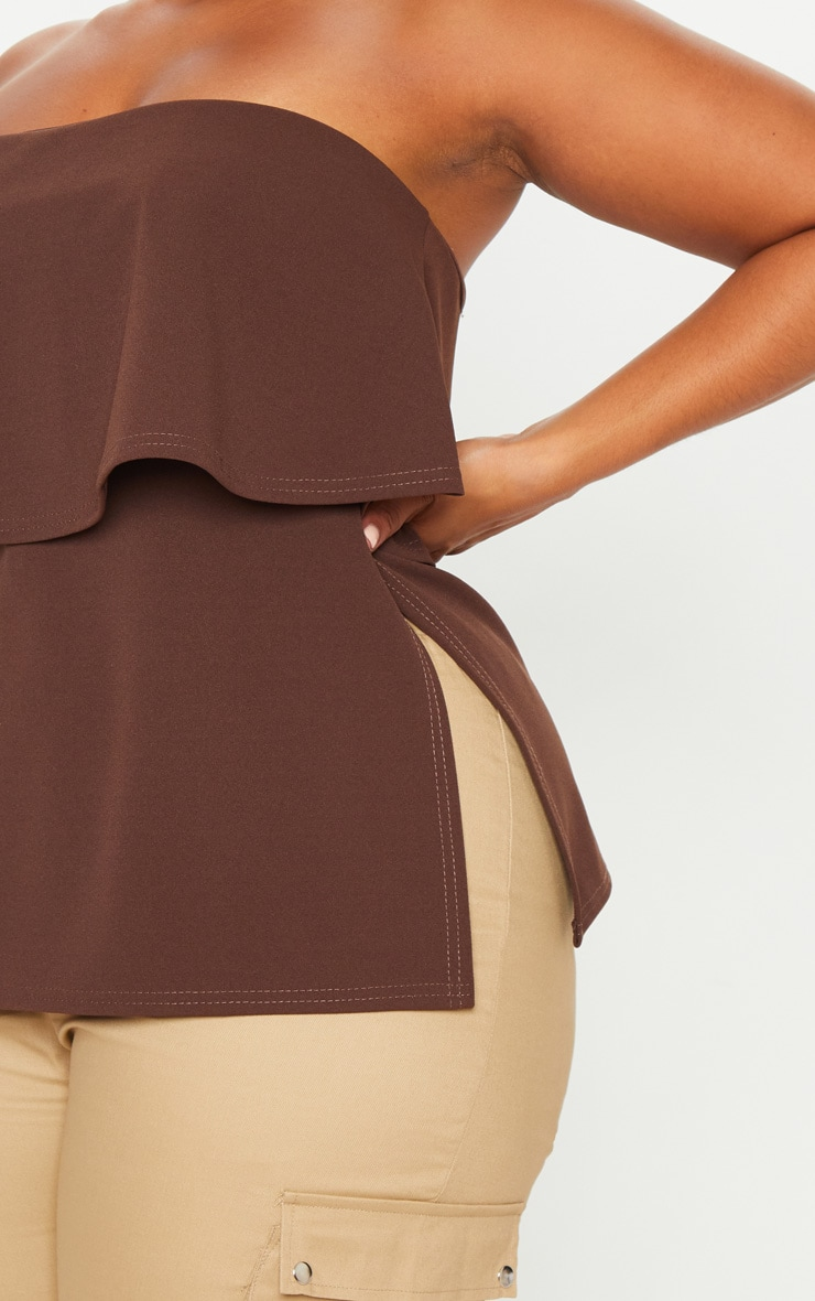 Plus Chocolate Brown Bandeau Frill Overlay Top 5