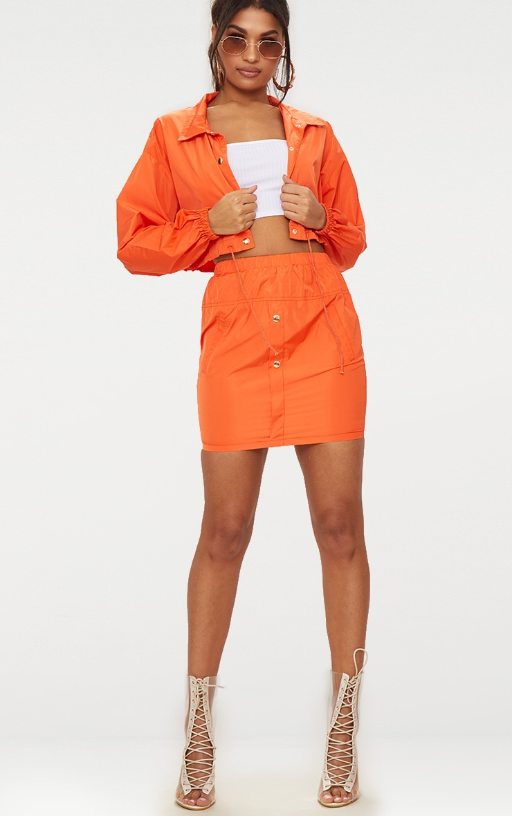 Orange Shell Suit Mini Skirt 5