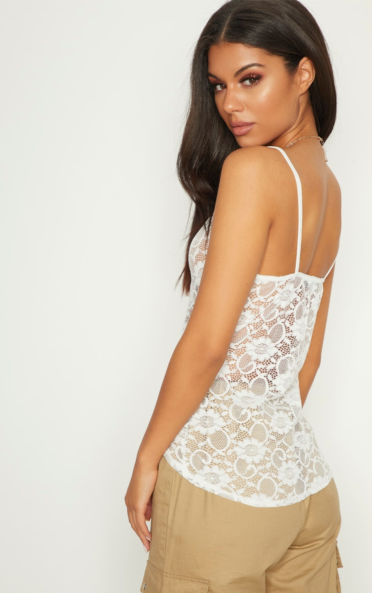 White Sheer Lace Cami Top  2
