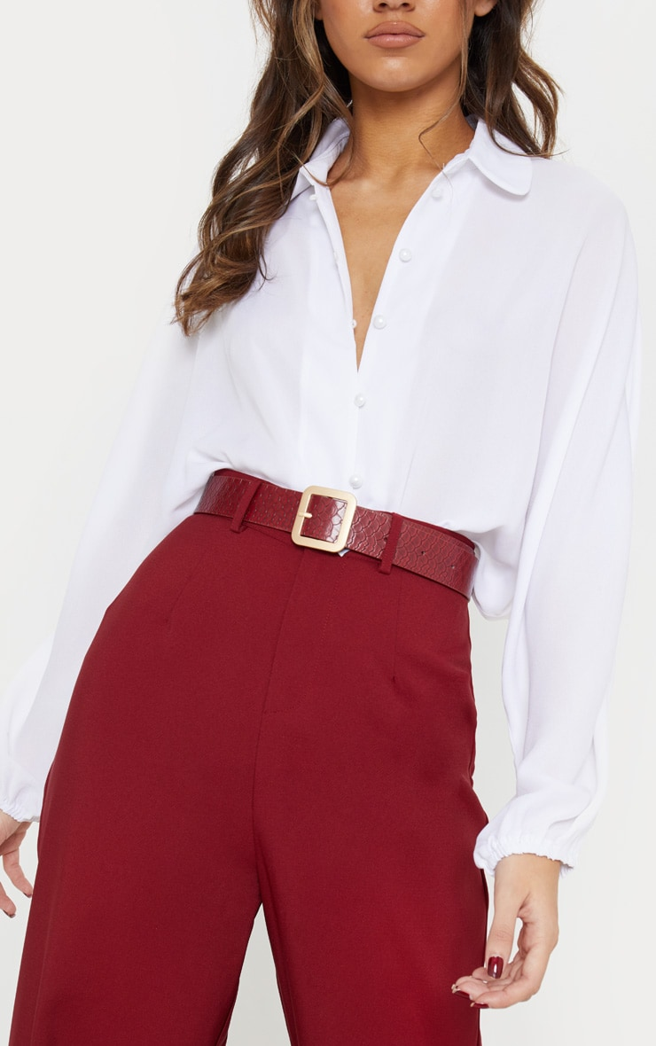 PRETTYLITTLETHING Logo Buckle Burgundy Croc Belt 2