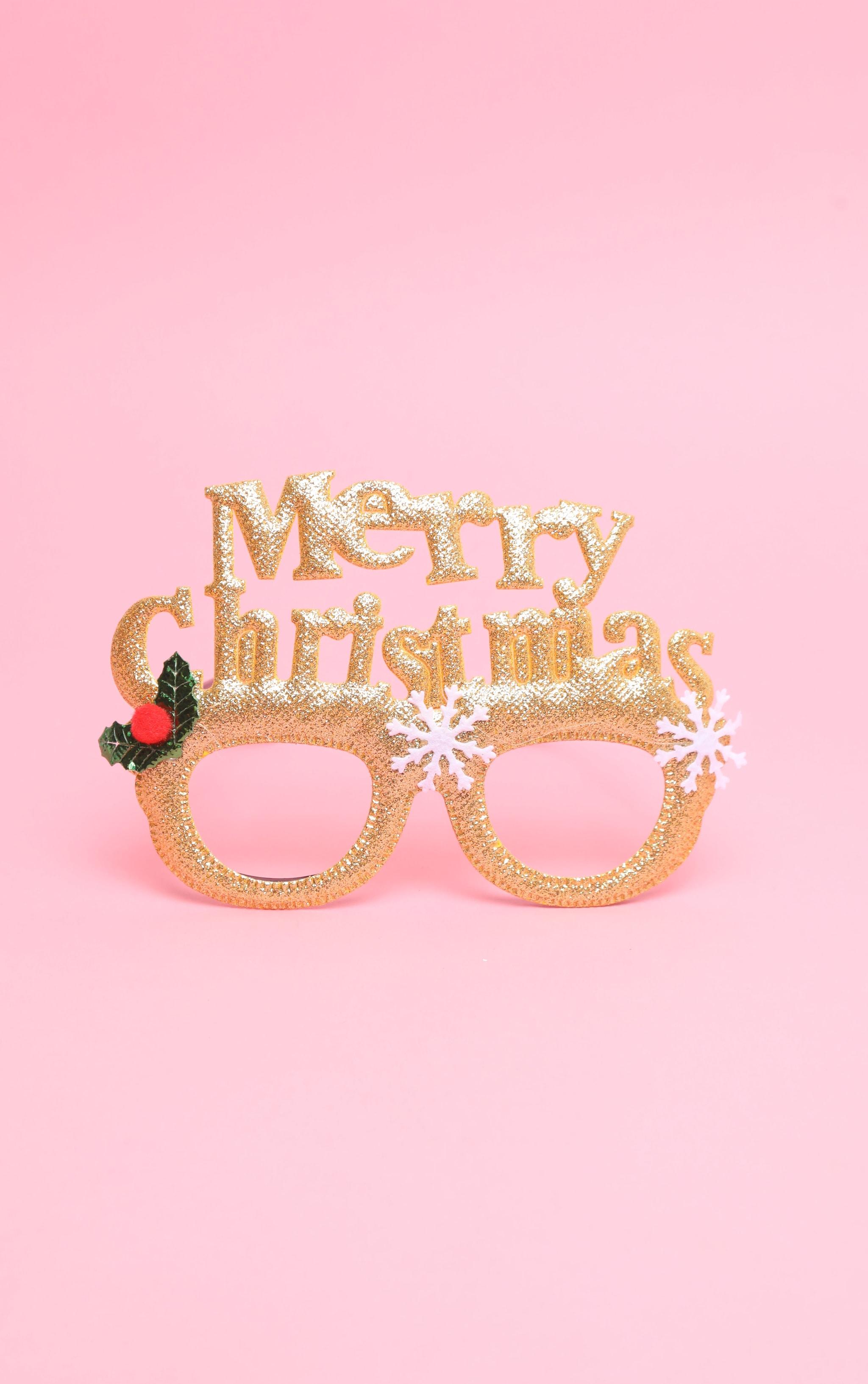 Gold Merry Christmas Novelty Glasses 1
