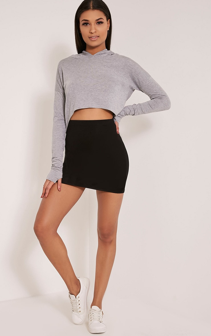 Monah Grey Jersey Cropped Hoodie 5