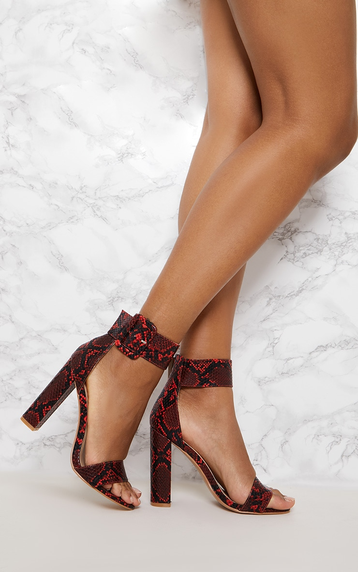 Red Faux Snake Ankle Buckle Block Heel