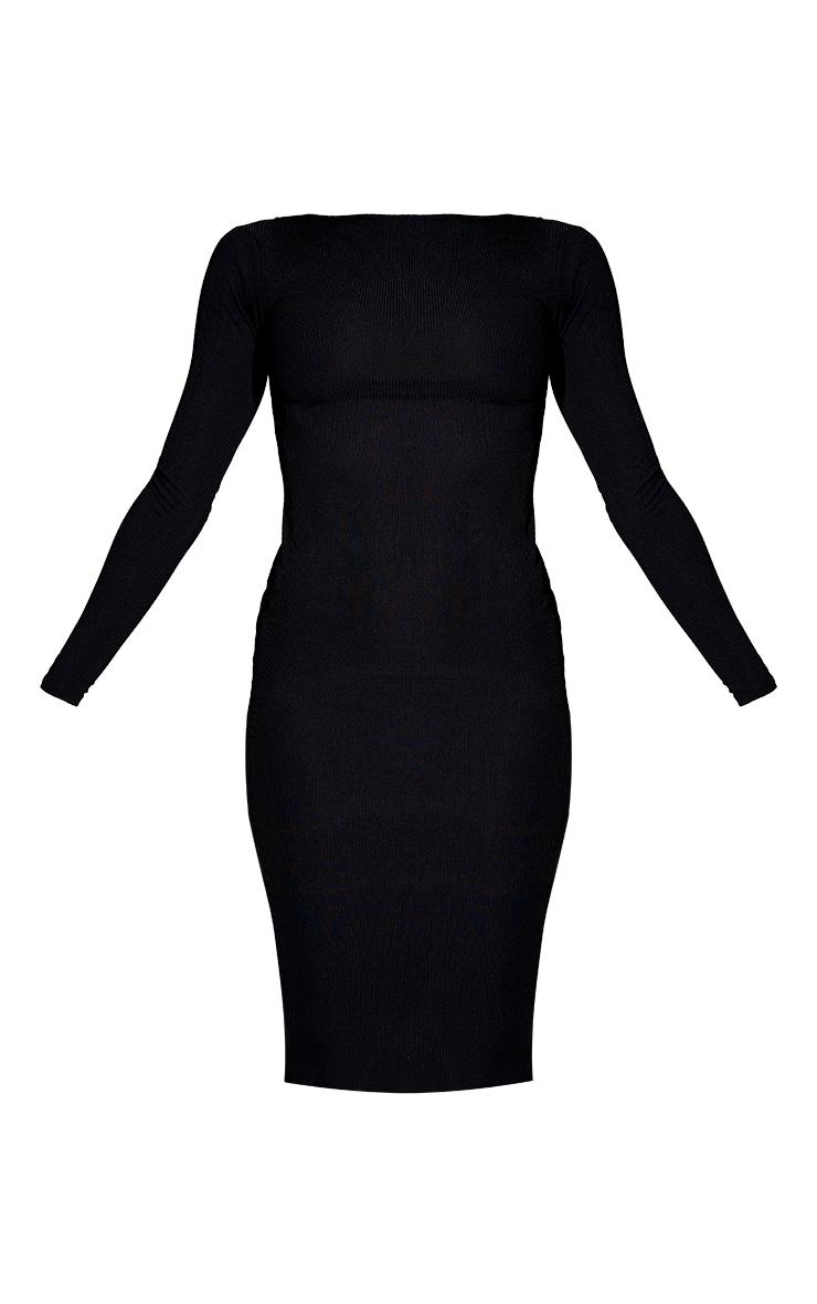 Basic Black Ribbed Long Sleeve Bodycon Dress 6