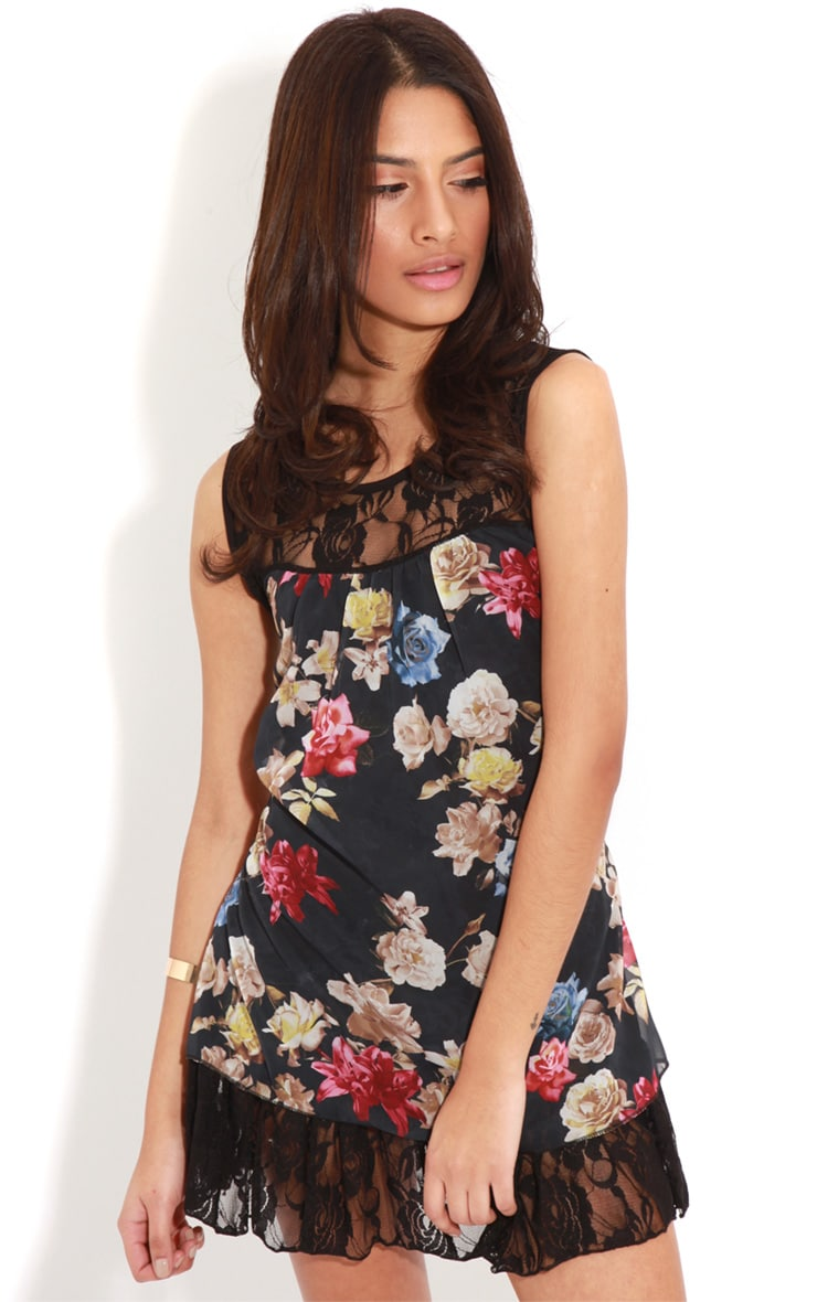 Ffion Floral Babydoll Dress With Lace Trim 4