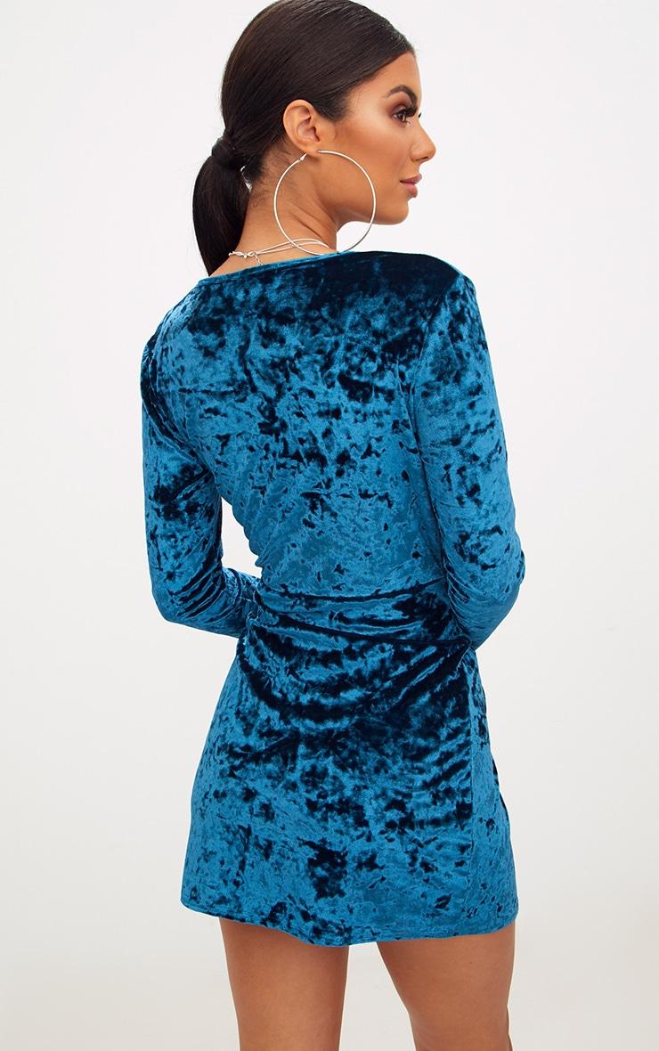 Teal Velvet Knot Front Long Sleeve Bodycon Dress 2