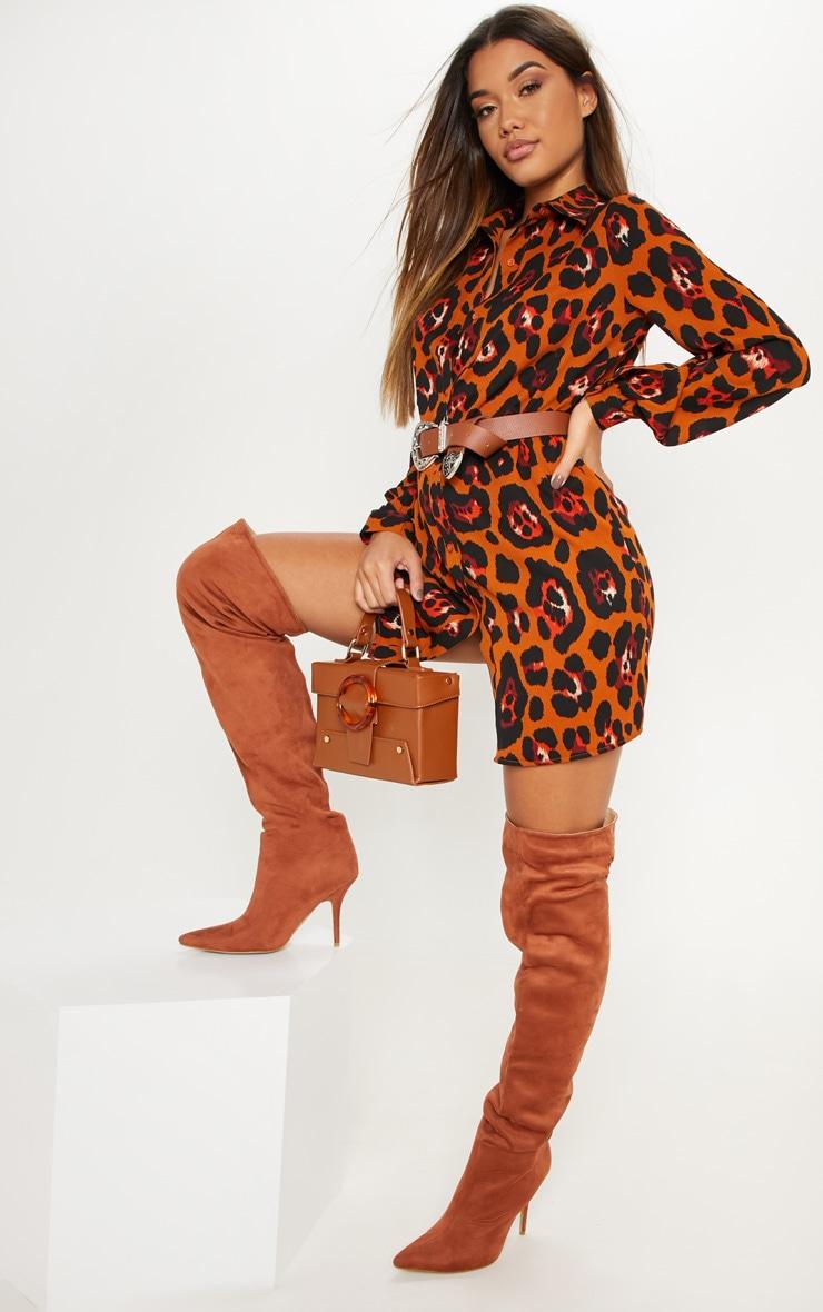 Burnt Orange Leopard Printed Shirt Dress 4