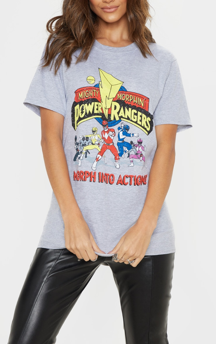 Grey Marl Power Rangers Printed Oversized T Shirt 5