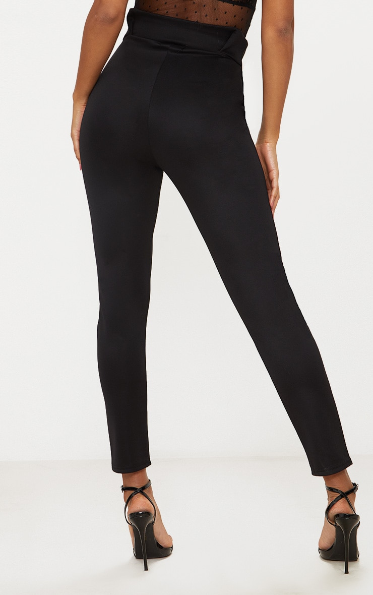 Black Pleated Waistband Tailored Pants 3