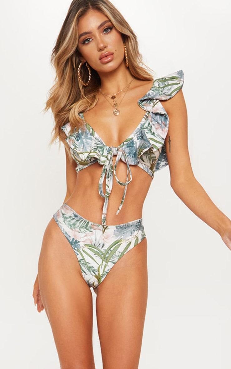 Pale Khaki Leafy Frill Tie Front Bikini Top 7