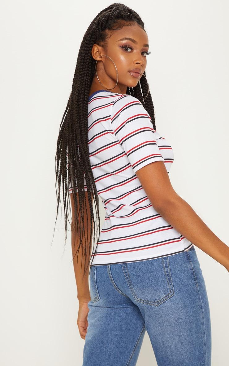 White Button Down Stripe T Shirt 2