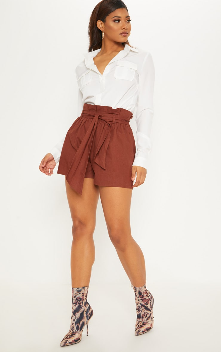 Tall Chocolate Brown Paperbag Tie Waist Shorts 5