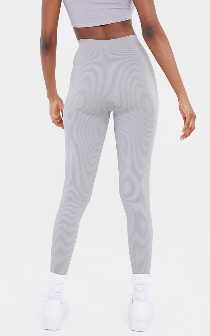 Tall Grey Structured Contour Rib Leggings 3