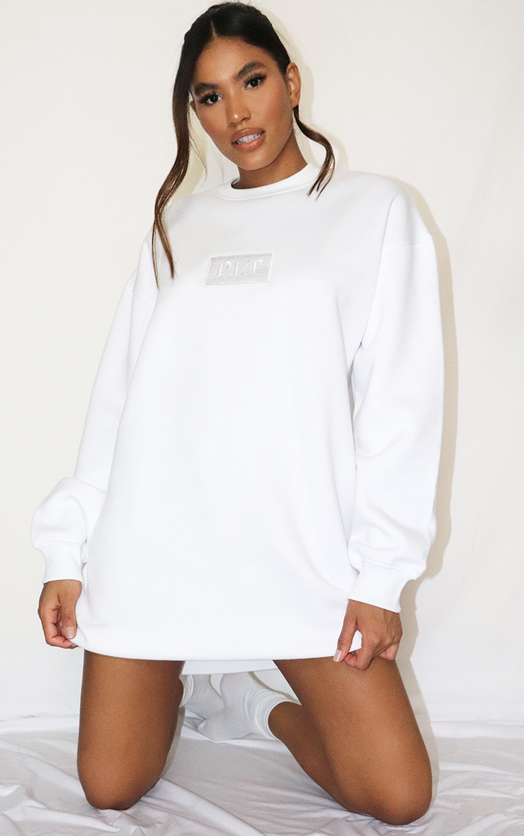 PRETTYLITTLETHING White Tonal Embroidered Sweat Jumper Dress 3