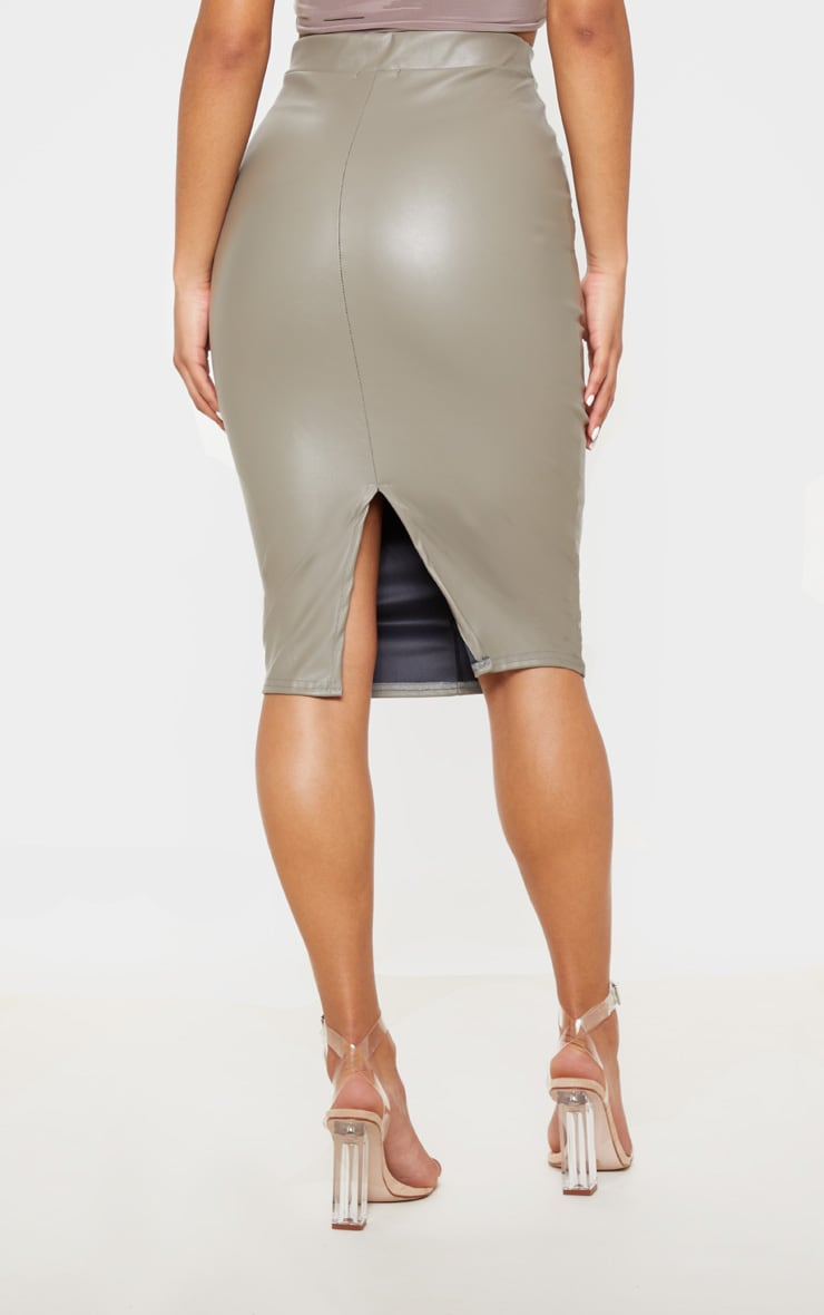 Eva Taupe Faux Leather Panel Midi Skirt 4