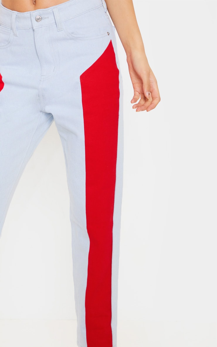 Red Two Tone Jeans 5