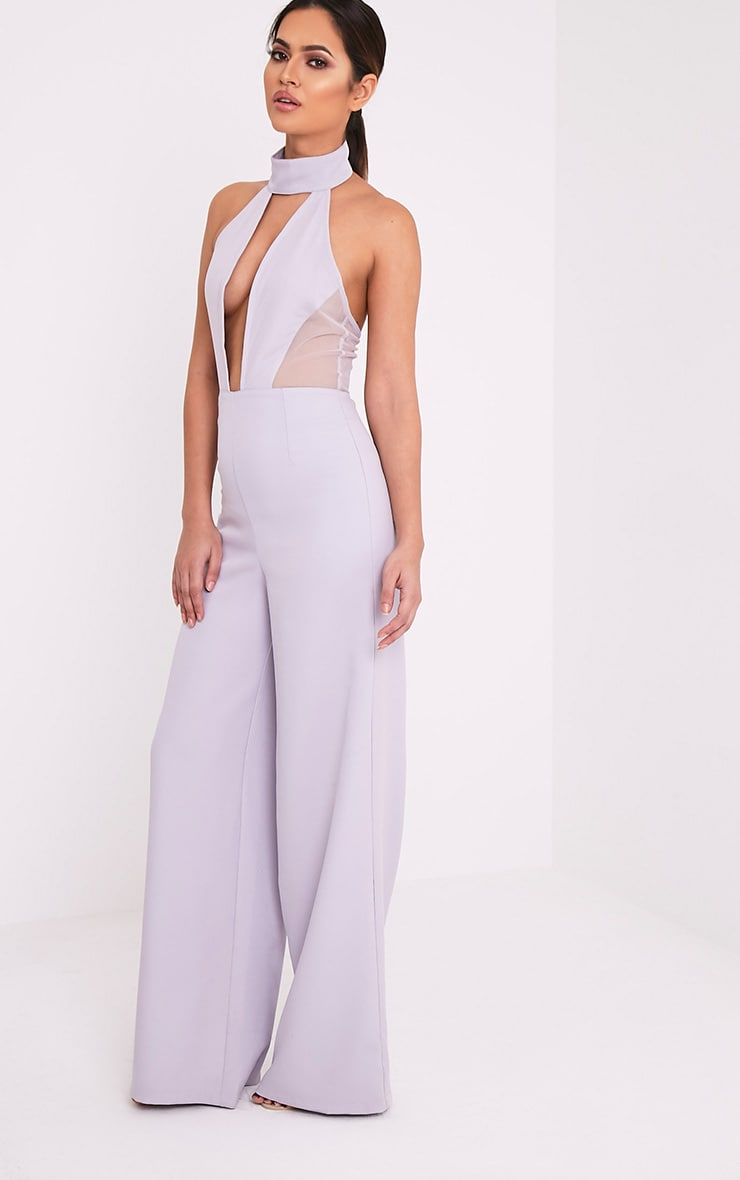Nonie Grey Choker Neck Mesh Panel Wide Leg Jumpsuit 5