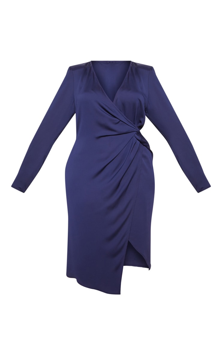 Navy Drape Pleated Detail Midi Dress 4