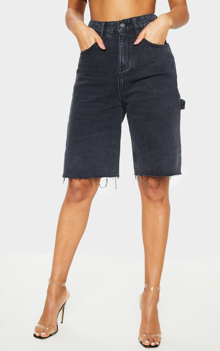 Washed Black Mom Cargo Detail Denim Shorts 2