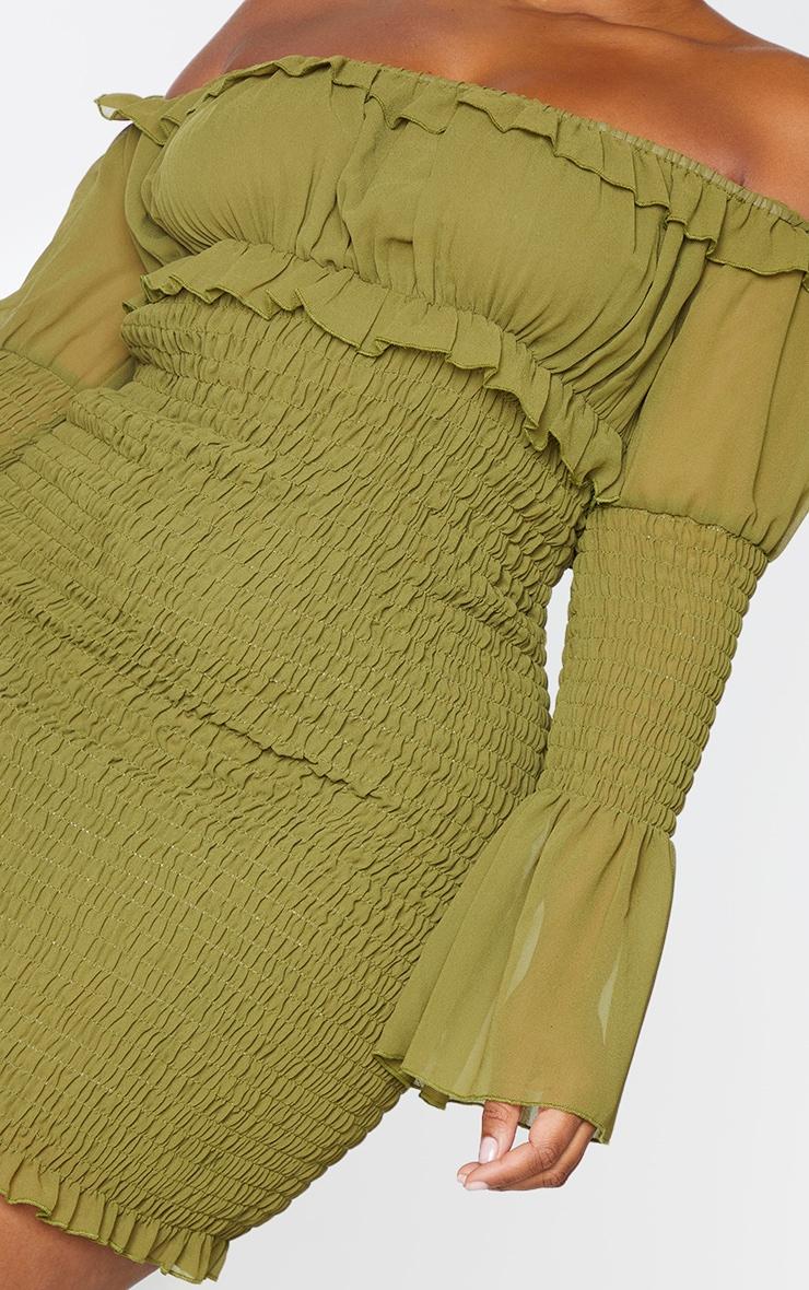 Plus Olive Shirred Chiffon Bodycon Dress 4