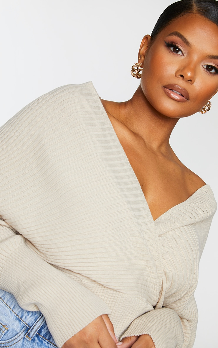 Plus Stone Wrap Off The Shoulder Sweater 4