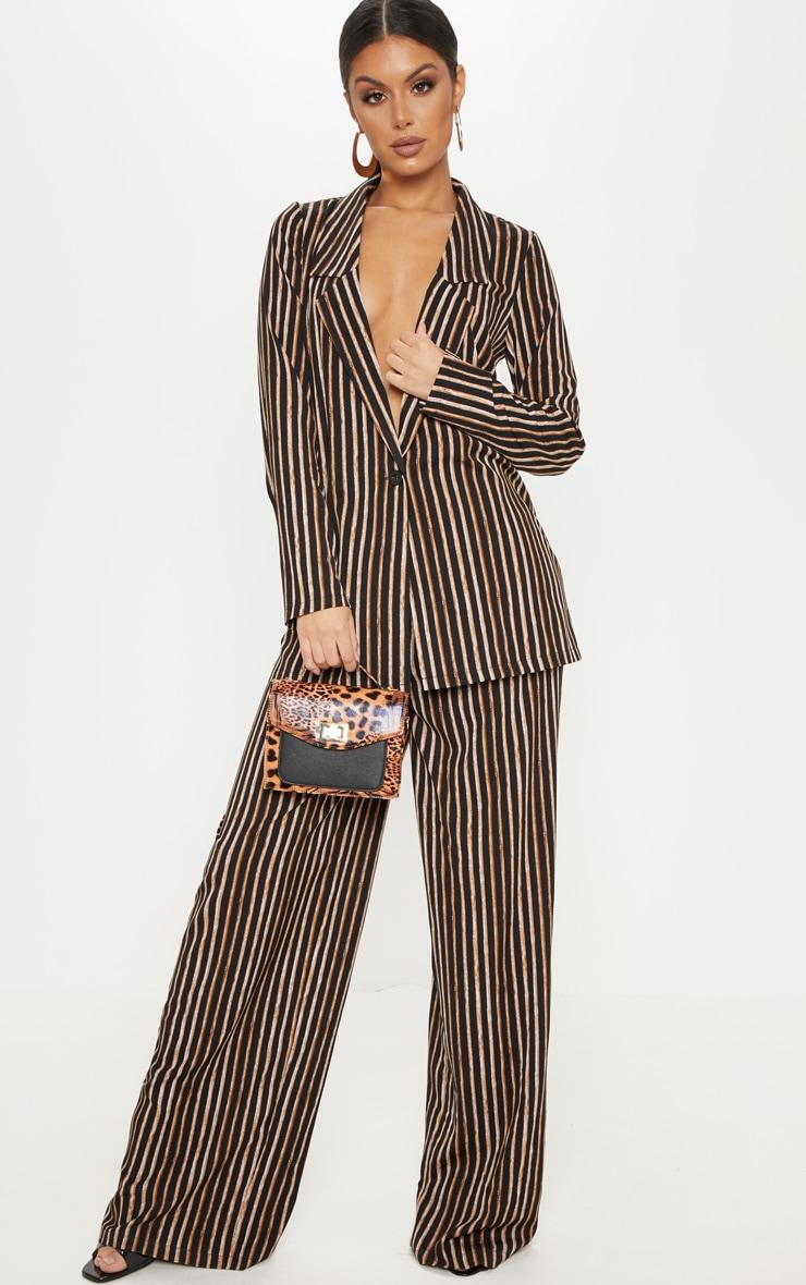 Black Stripe High Waisted Straight Leg Trouser 1